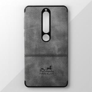 Ốp lưng Nokia 6 2018 vân vải bố Ivan Klot (Xám)