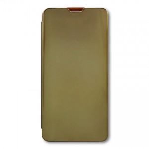 Bao da Samsung Galaxy A20S Clear View tráng gương (Vàng)
