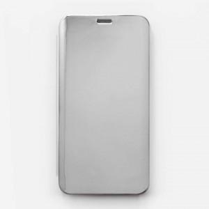 Bao da Samsung Galaxy A9 2018, A9s Clear View tráng gương (Bạc)