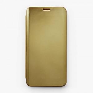 Bao da Samsung Galaxy A9 2018, A9s Clear View tráng gương (Vàng)