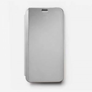 Bao da Samsung Galaxy J6 Plus Clear View tráng gương (Bạc)