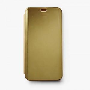 Bao da Samsung Galaxy J6 Plus Clear View tráng gương (Vàng)