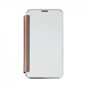 Bao da Samsung Galaxy J7 Pro Clear View tráng gương (Bạc)