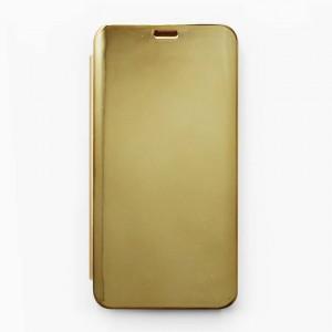 Bao da Samsung Galaxy J8 2018 Clear View tráng gương (Vàng)