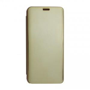 Bao da Samsung Galaxy M10 Clear View tráng gương (Vàng)