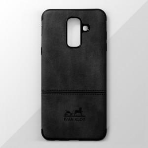 Ốp lưng Samsung Galaxy A6 Plus vân vải bố Ivan Klot (Đen)