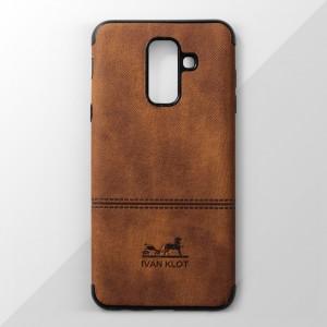 Ốp lưng Samsung Galaxy A6 Plus vân vải bố Ivan Klot (Vàng)