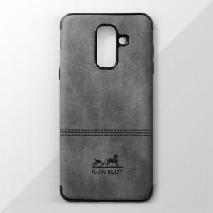 Ốp lưng Samsung Galaxy A6 Plus vân vải bố Ivan Klot (Xám)