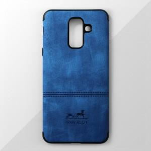 Ốp lưng Samsung Galaxy A6 Plus vân vải bố Ivan Klot (Xanh)