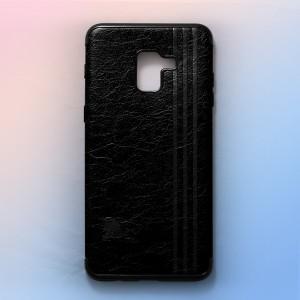 Ốp lưng da Samsung Galaxy A8 Plus khắc hình Burberry (Đen)