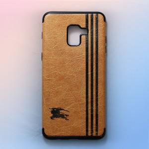 Ốp lưng da Samsung Galaxy A8 Plus khắc hình Burberry (Vàng)