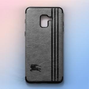 Ốp lưng da Samsung Galaxy A8 Plus khắc hình Burberry (Xám)