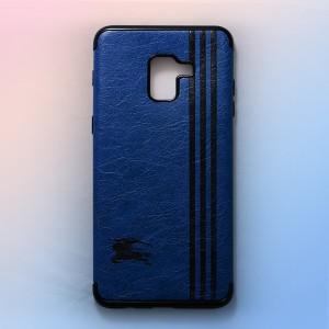 Ốp lưng da Samsung Galaxy A8 Plus khắc hình Burberry (Xanh)