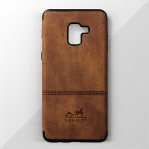 Ốp lưng Samsung Galaxy A8 Plus vân vải bố Ivan Klot (Vàng)