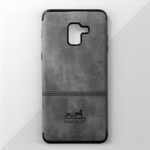 Ốp lưng Samsung Galaxy A8 Plus vân vải bố Ivan Klot (Xám)
