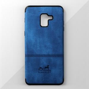 Ốp lưng Samsung Galaxy A8 2018 vân vải bố Ivan Klot (Xanh)