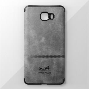 Ốp lưng Samsung Galaxy C9 Pro vân vải bố Ivan Klot (Xám)