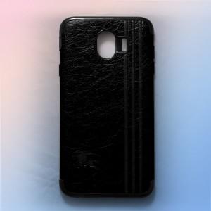 Ốp lưng da Samsung Galaxy J4 2018 khắc hình Burberry (Đen)