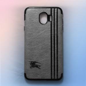 Ốp lưng da Samsung Galaxy J4 2018 khắc hình Burberry (Xám)