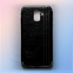 Ốp lưng da Samsung Galaxy J6 2018 khắc hình Burberry (Đen)