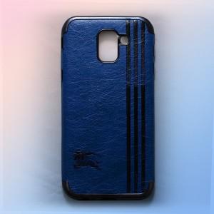 Ốp lưng da Samsung Galaxy J6 2018 khắc hình Burberry (Xanh)