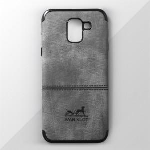 Ốp lưng Samsung Galaxy J6 2018 vân vải bố Ivan Klot (Xám)