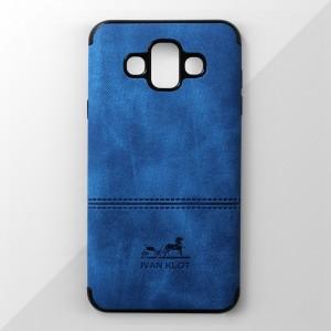 Ốp lưng Samsung Galaxy J7 Duo vân vải bố Ivan Klot (Xanh)
