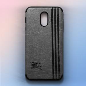 Ốp lưng da Samsung Galaxy J7 Plus khắc hình Burberry (Xám)