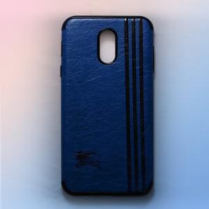 Ốp lưng da Samsung Galaxy J7 Plus khắc hình Burberry (Xanh)