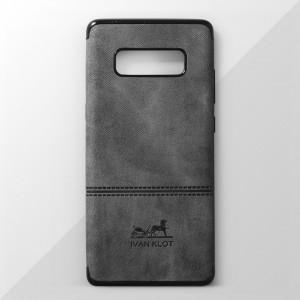 Ốp lưng Samsung Galaxy Note 8 vân vải bố Ivan Klot (Xám)