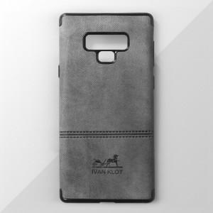 Ốp lưng Samsung Galaxy Note 9 vân vải bố Ivan Klot (Xám)