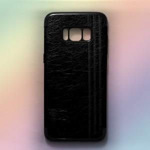 Ốp lưng da Samsung Galaxy S8 Plus khắc hình Burberry (Đen)