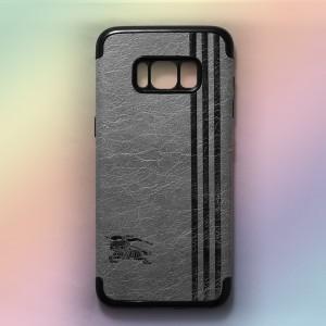 Ốp lưng da Samsung Galaxy S8 Plus khắc hình Burberry (Xám)