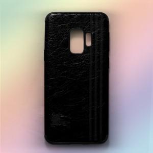 Ốp lưng da Samsung Galaxy S9 khắc hình Burberry (Đen)