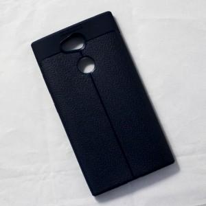 Ốp lưng Sony Xperia L2 Auto Focus vân da (Xanh Navy)