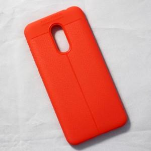 Ốp lưng Xiaomi Redmi 5 Plus Auto Focus vân da (Cam)