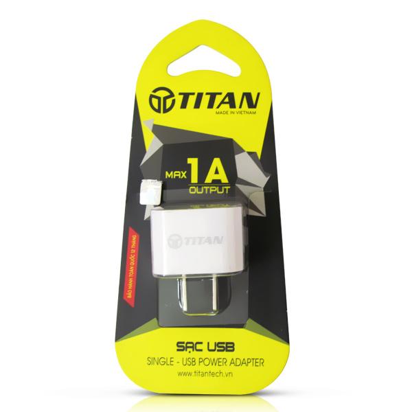 Cốc sạc, củ sạc TITAN Single Series 5V-1A cho iOS, Android và Windowsphone